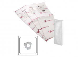 Electrostatic bag - 3 notches - set of 3 with 1 carbon dust filter included - 4.5 gal (20 l)