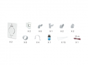 Installation kit for Plastiflex wall inlet - white inlet(s) with round door included
