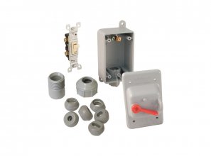 Weatherproof electrical box with switch 24V for the Wave wet and dry system