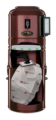 central vacuum with view of the filtration with bag configuration inside
